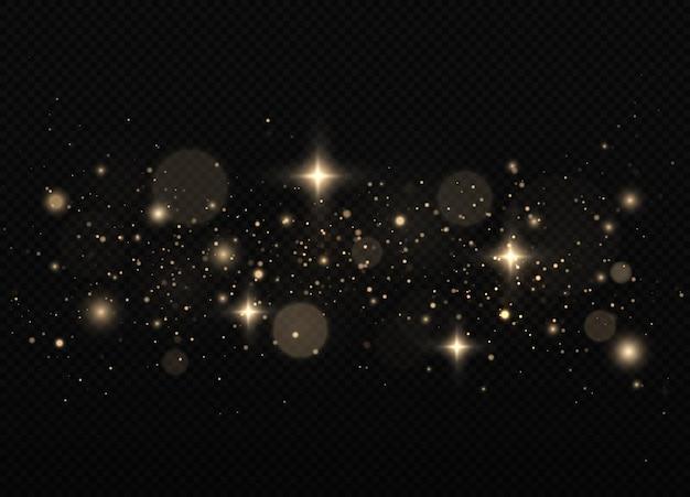 Particules de poussière magiques scintillantes sur fond noir