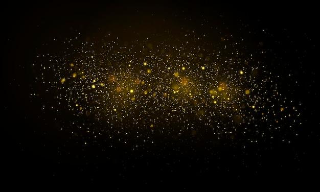 Des particules de poussière magiques scintillantes ont défocalisé des lumières jaunes rougeoyantes vecteur de cercles de bokeh jaune