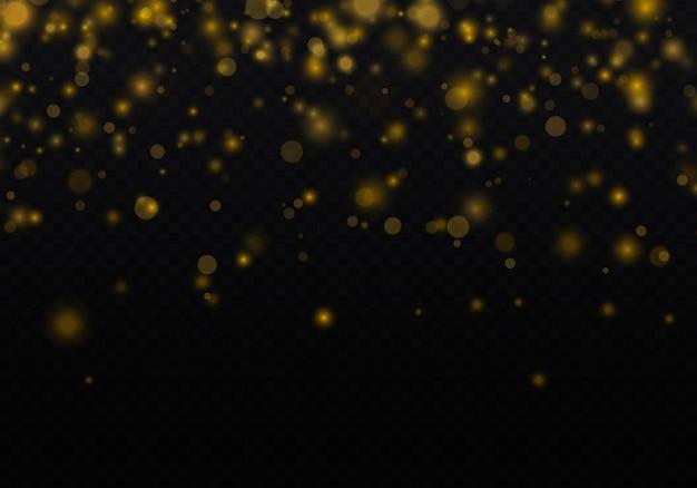 Particules de poussière d'or magique étincelant lumière lumineuse lueur bokeh fond vecteur de particules de paillettes