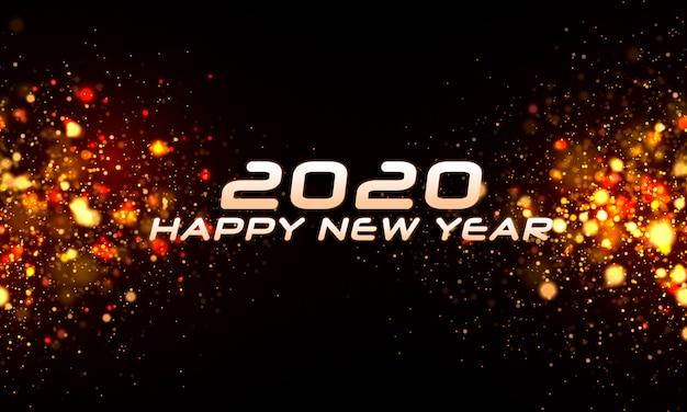 Particules réalistes floues brillantes nouvel an 2020 fond