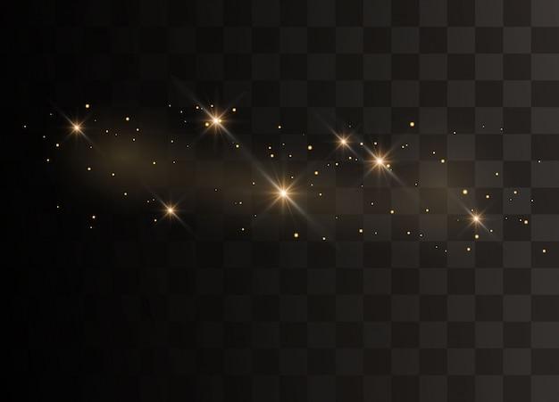 Particules scintillantes de poussière de fée. étincelles scintillent effet lumineux spécial.