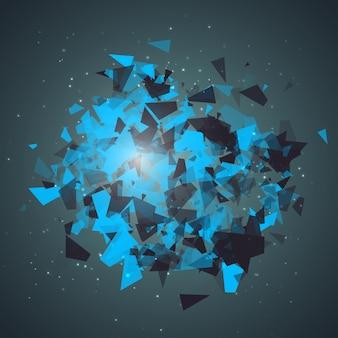 Particules de triangles abstraits avec des ombres transparentes panneau publicitaire infographie fond ite...