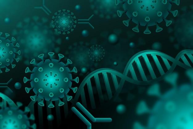 Particules de virus interagissant avec les molécules d'anticorps - arrière-plan