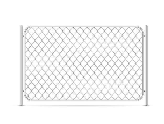 Partie de la clôture de maillon de chaîne en métal brillant sur blanc