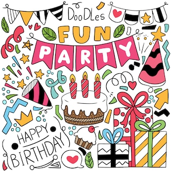 Partie dessinée à la main doodle éléments de joyeux anniversaire