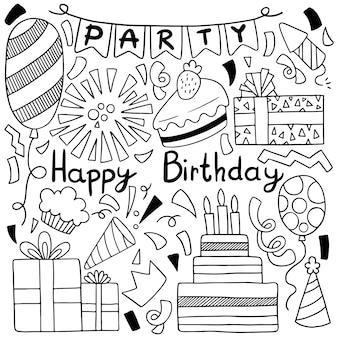Partie dessinée à la main doodle joyeux anniversaire illustration de modèle fond ornements