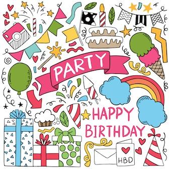Partie dessinée à la main doodle joyeux anniversaire illustration d'ornements