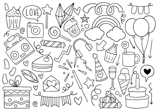 Partie dessinée à la main doodle joyeux anniversaire motif de fond ornements illustration vectorielle