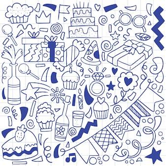 Partie dessinée à la main doodle joyeux anniversaire ornements motif de fond