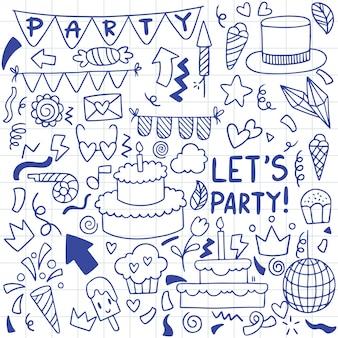 Partie dessinée à la main doodle joyeux anniversaire ornements