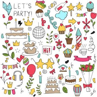 Partie dessinée à la main doodle joyeux anniversaire.