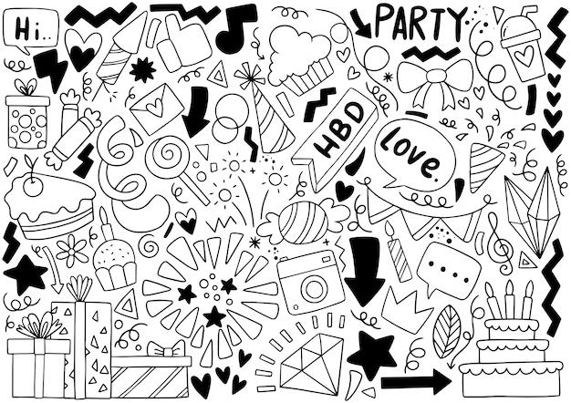Partie dessinée à la main doodle joyeux anniversaire