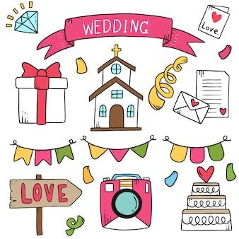 Partie dessinée à la main doodles élément de mariage.
