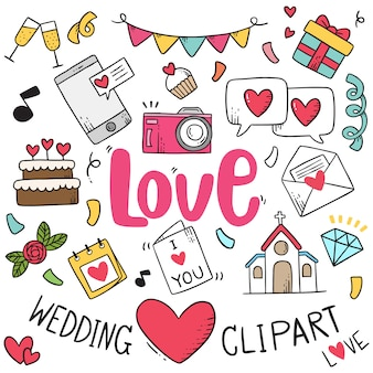 Partie dessinée à la main doodles fond d'élément de mariage.