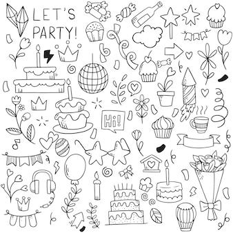 Partie de dessinés à la main doodle joyeux anniversaire motif de fond d'ornements