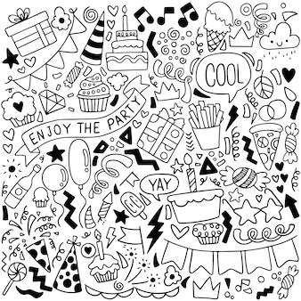 Partie doodle carte de voeux joyeux anniversaire avec des éléments de dessin