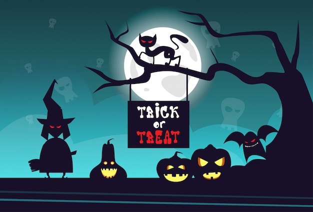 Partie de l'horreur de concept de carte de voeux happy halloween trick or treat