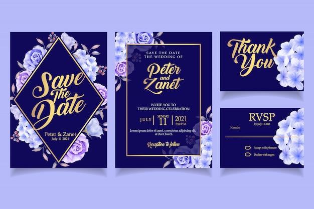 Partie de modèle de carte élégante invitation mariage aquarelle floral