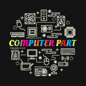 Partie De L'ordinateur Dégradé Coloré Avec Jeu D'icônes De Ligne Vecteur Premium
