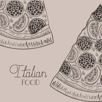 Partie de pizza italienne dessinés à la main des plats italiens