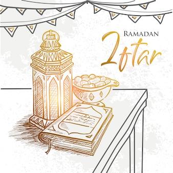 Partie de ramadan iftar de vecteur dessinés à la main