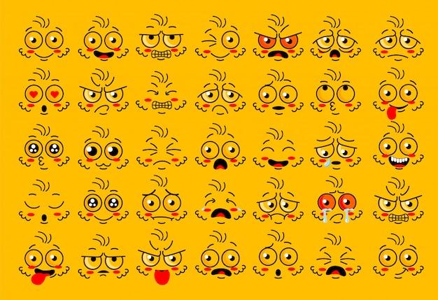Parties des yeux de visage drôle avec émotion d'émotions