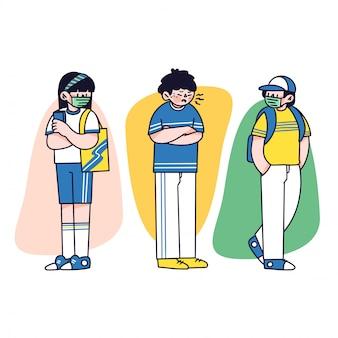 Partir en vacances ensemble illustration concept doodle atout de personnage par arkana studio