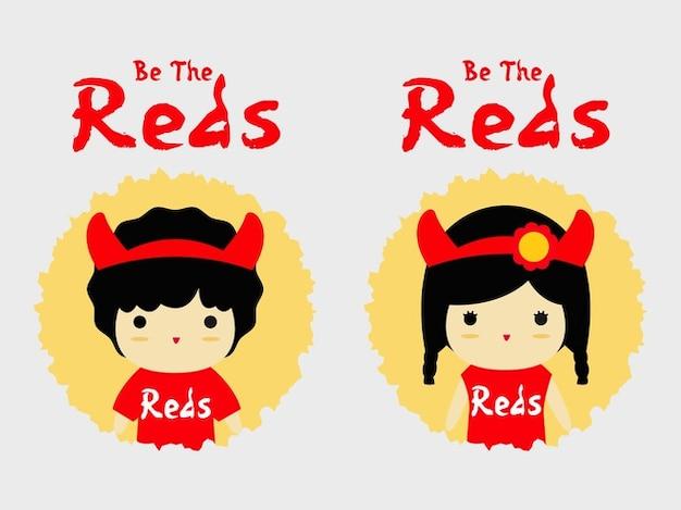 Les partisans rouges équipe t-shirt de dessin animé