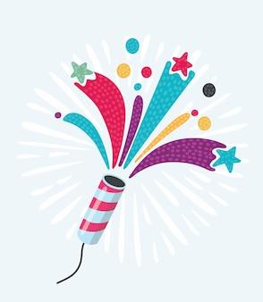 Party cracker avec des confettis et des banderoles sur fond blanc