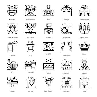 Party elements line icons set
