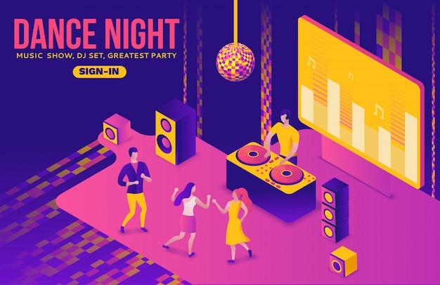Party isometric, dj jouer de la musique, 3d