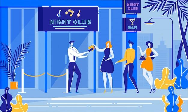 Party night security bouncer cheking femme sac à main