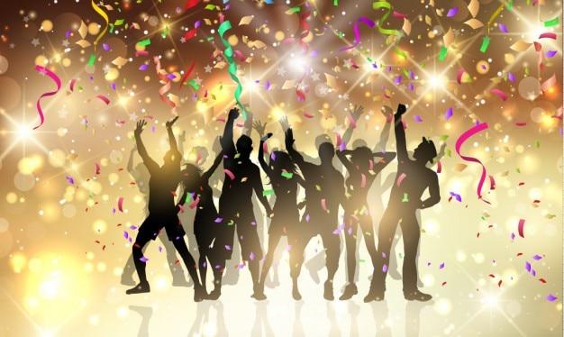 Party people avec des banderoles et des confettis