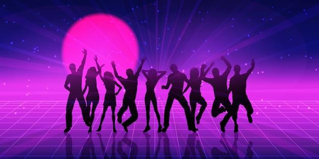 Party people silhouette avec un style rétro
