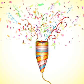 Party popper exploding avec confetti