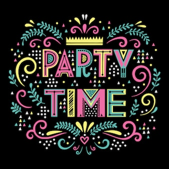 Party time lettering composition