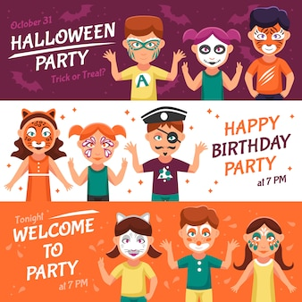 Party with greasepaint banners set