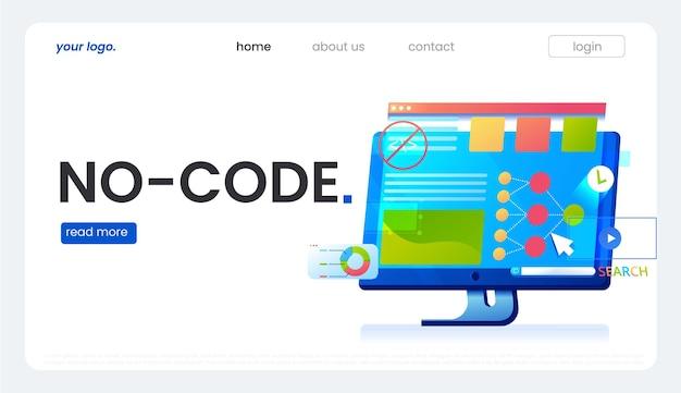 Pas de bannière de code. illustration de concept de vecteur.
