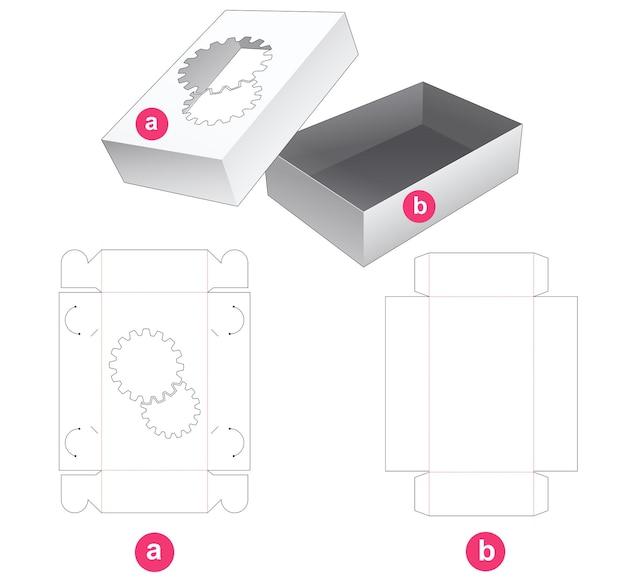Pas de boîte de colle avec fenêtre en forme d'engrenages sur le couvercle modèle découpé