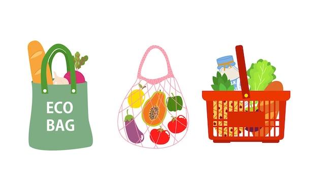 Pas de campagne de sacs en plastique le sac écologique réutilisable zéro déchet contient des produits d'épicerie design plat isolé
