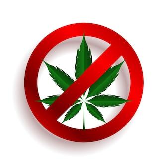Pas de conception de symbole de marijuana ou d'arrêt cbd