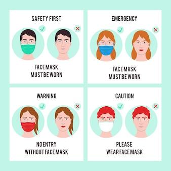 Pas d'entrée sans collection de signes de masque facial