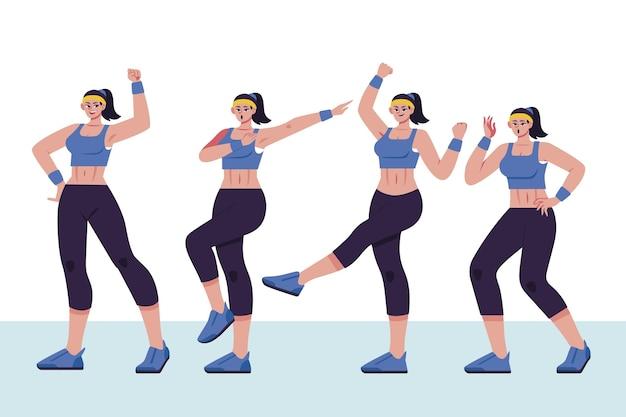 Pas de fitness de danse dessinés à la main