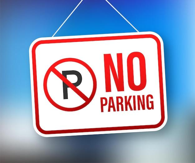 Pas de parking sur fond rouge. symbole de danger. signe d'attention d'avertissement. panneau stop. illustration vectorielle