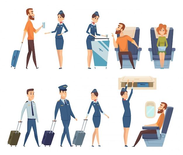 Passagers d'avion. hôtesse de l'air en uniforme d'embarquement des personnages de dessins animés de sécurité