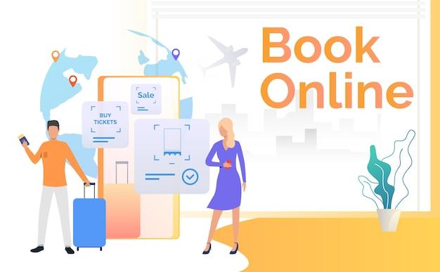 Passagers avec bagages et smartphone