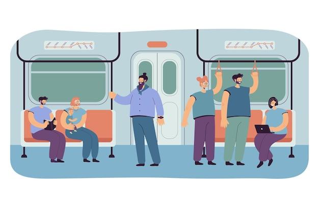 Passagers dans le métro ou l'intérieur de la voiture souterraine