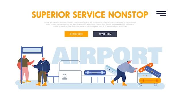 Passagers dans la page de destination du site web de l'aéroport.