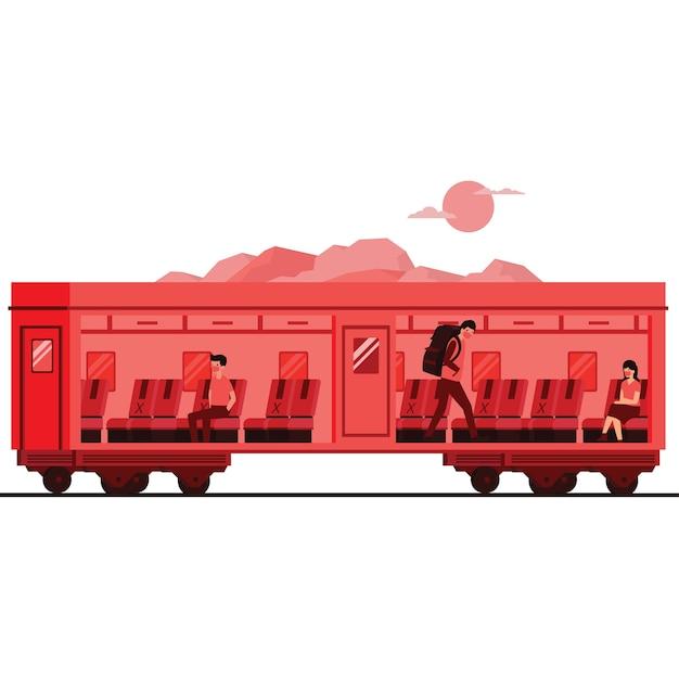 Les passagers gardent leurs distances dans le train pendant une pandémie