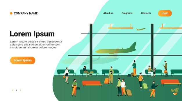 Passagers à l'intérieur du bâtiment de l'aéroport avec illustration vectorielle plane de grandes fenêtres panoramiques. avion d'attente de personnage de dessin animé, assis sur des bancs, marchant avec des bagages